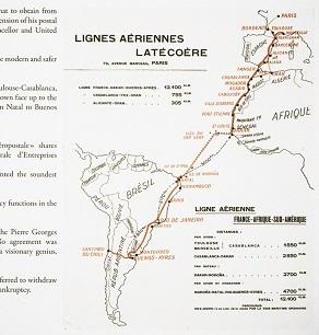 Carte Lignes aériennes Latécoère. Crédit: Fondation Air France