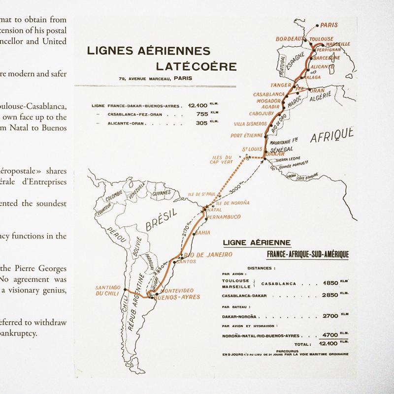 Carte Lignes Aériennes Latécoère. Crédit: Fondation Latécoère