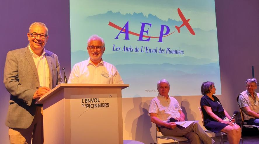 Jean Baptiste Desbois, Directeur Général de L'Envol des Pionniers, et Pierre Michel Pranville, Président de l'AEP